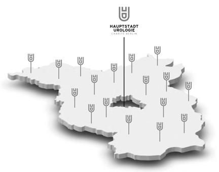 Symbolgrafik die Beispielhaft die Verteilung der Beteiligten Praxen in Berlin und Brandenburg zeigt